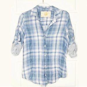 Bella Dahl plaid button back shirt